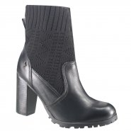 Bota Ankle Boot Cravo e Canela 144114-4 Preto (Mini Floater/Malha)