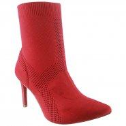0d40fd066 Bota Feminina Ankle Boot Tanara T2265 0002 Vermelho (Malha)