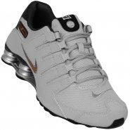 a7e92b6f18 Tênis Masculino Nike Shox NZ 378341-008 Cinza Preto Dourado