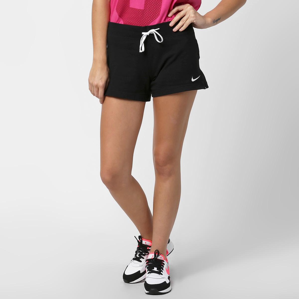 Short Feminino Nike Jersey Short 615055-010 - Preto Branco ... 258e1fdcbc70e