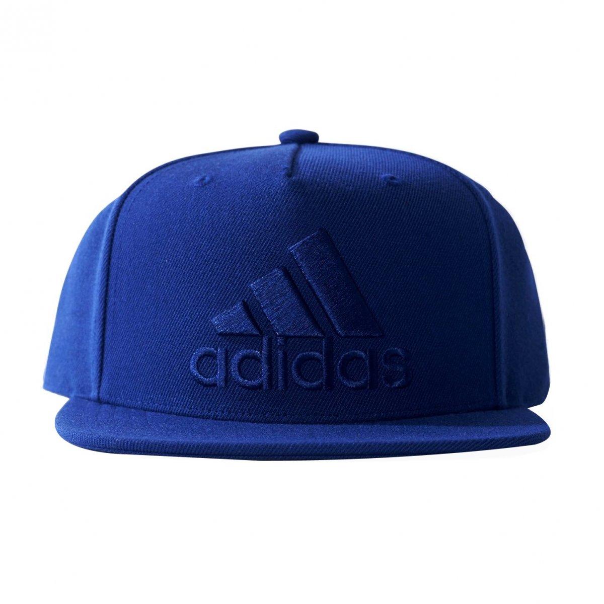 Boné Adidas Aba Reta Flat Cap Logo BQ7339 - Azul - Calçados Online ... 94a0e91d21e08