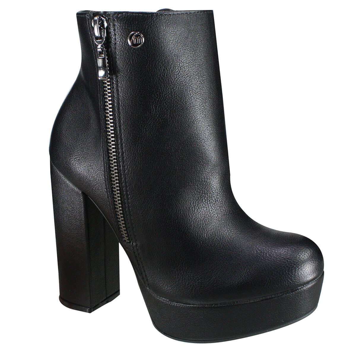 69b824e99 Bota Ankle Boot Via Marte Meia Pata 19-2204 - Preto (Napa Fenice ...