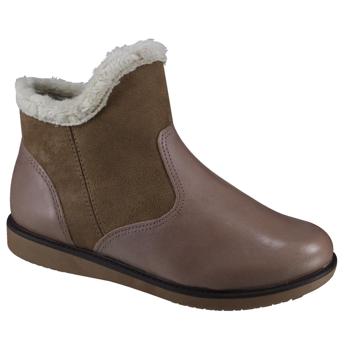 226ea5db6 Bota Feminina Comfortflex Ankle Boot 17-70301 000001 Taupe (Brush Suede  Plus)