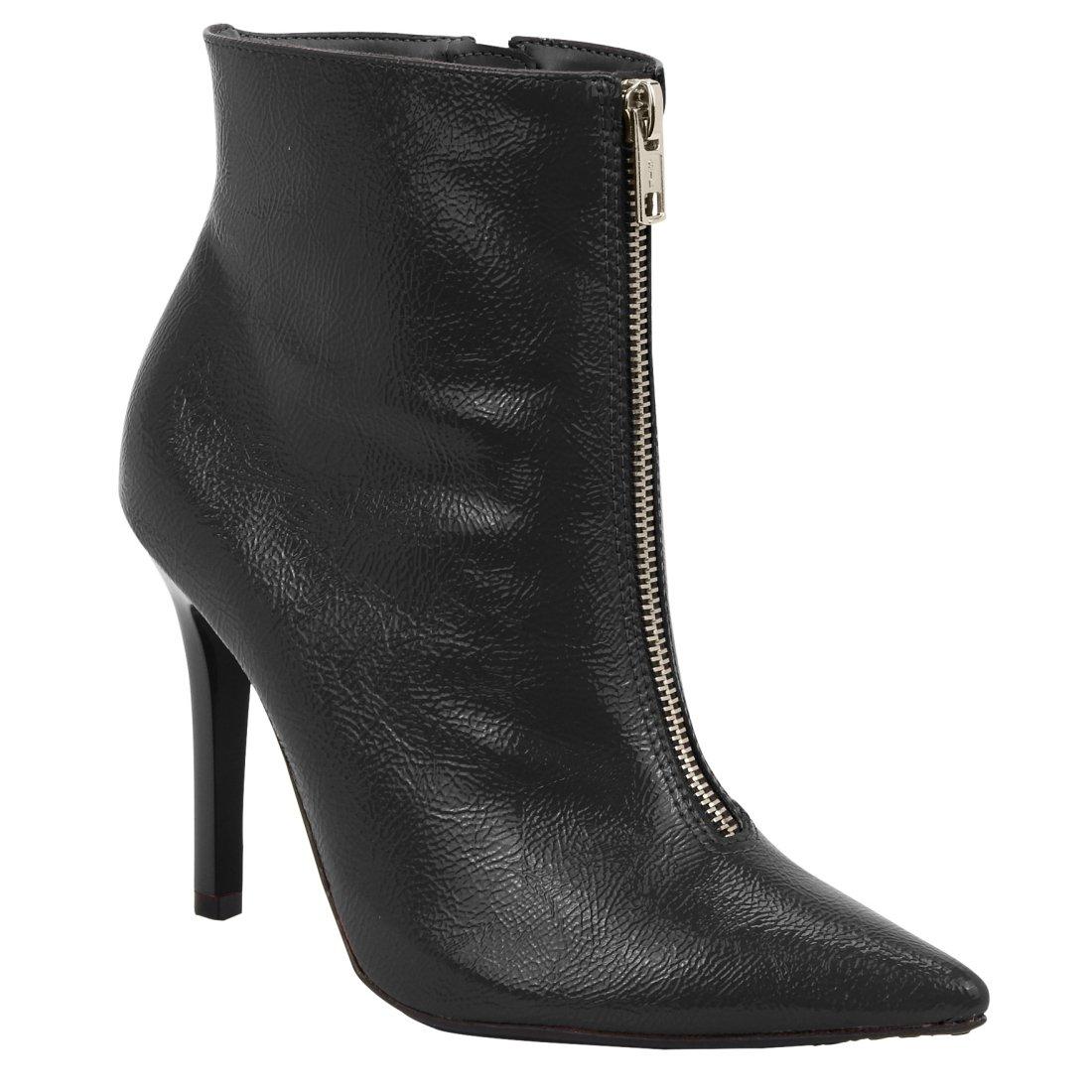 6159482460 Bota Feminina Via Marte Ankle Boot 18-7203 - Preto (Verniz Glamour ...