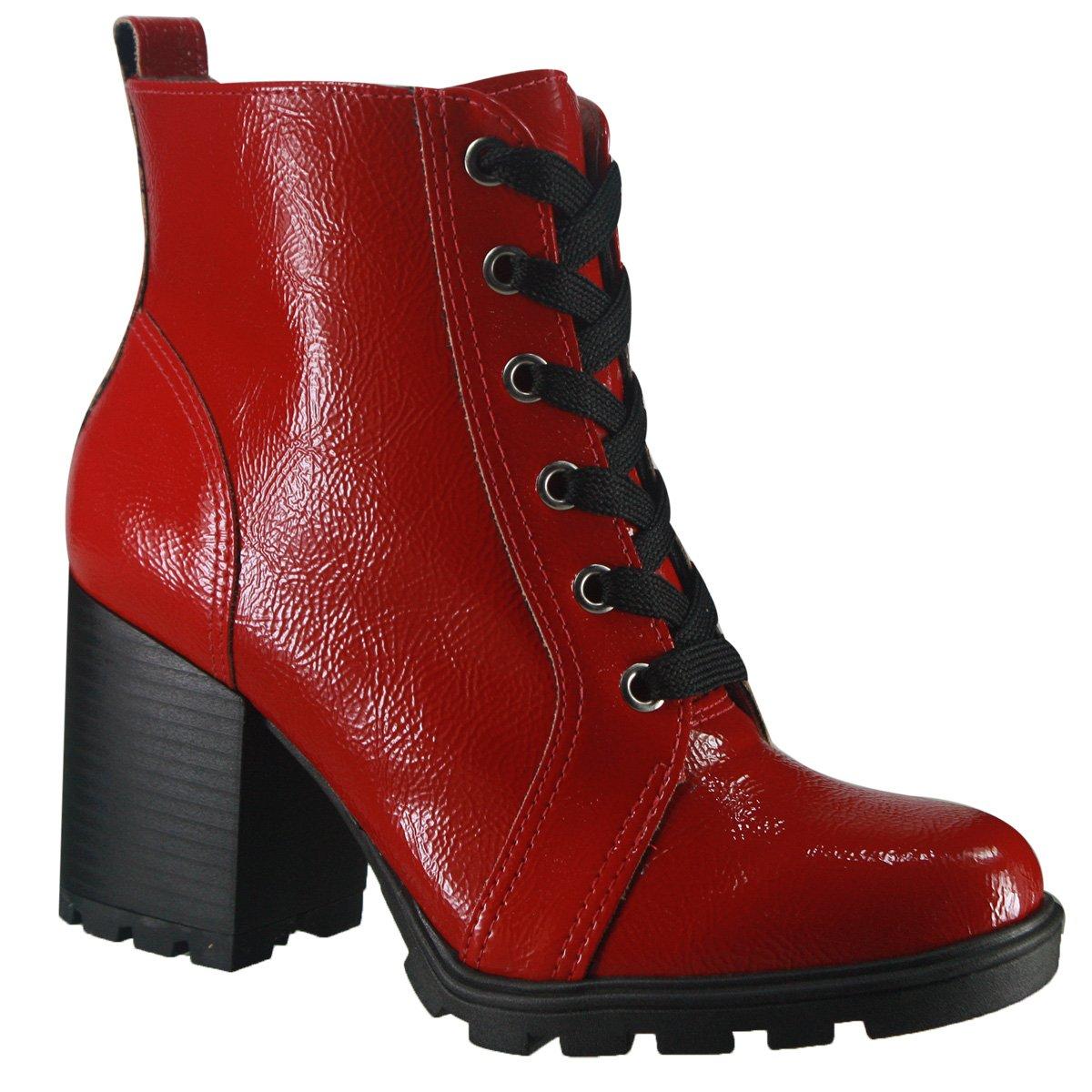 a3bcc1841a Bota Via Marte Ankle Boot 18-2603 - Vermelho (Verniz Glamour ...