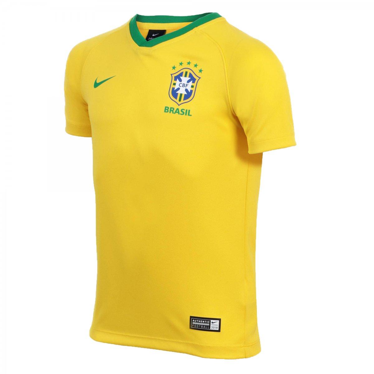 04c85aa725 Camisa Infantil Nike CBF Brasil Torcedor Estádio 2018 19 AA2886-749 Amarelo