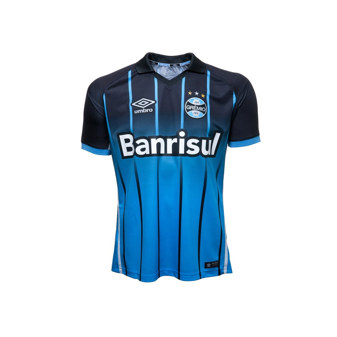 7edfa5d868 Camisa Junior Umbro Grêmio Oficial III 2016 3G00065 Preto Azul Branco