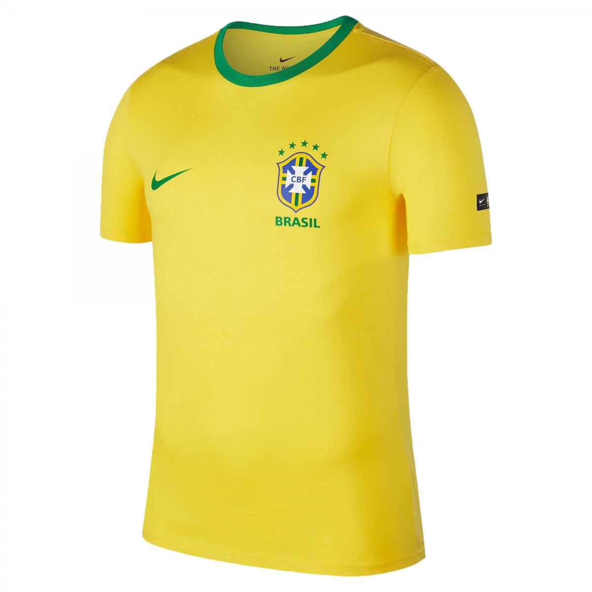 26ecc013dc6 Camisa Masculina Nike Brasil CBF Crest 2018 888320-749 - Amarelo ...