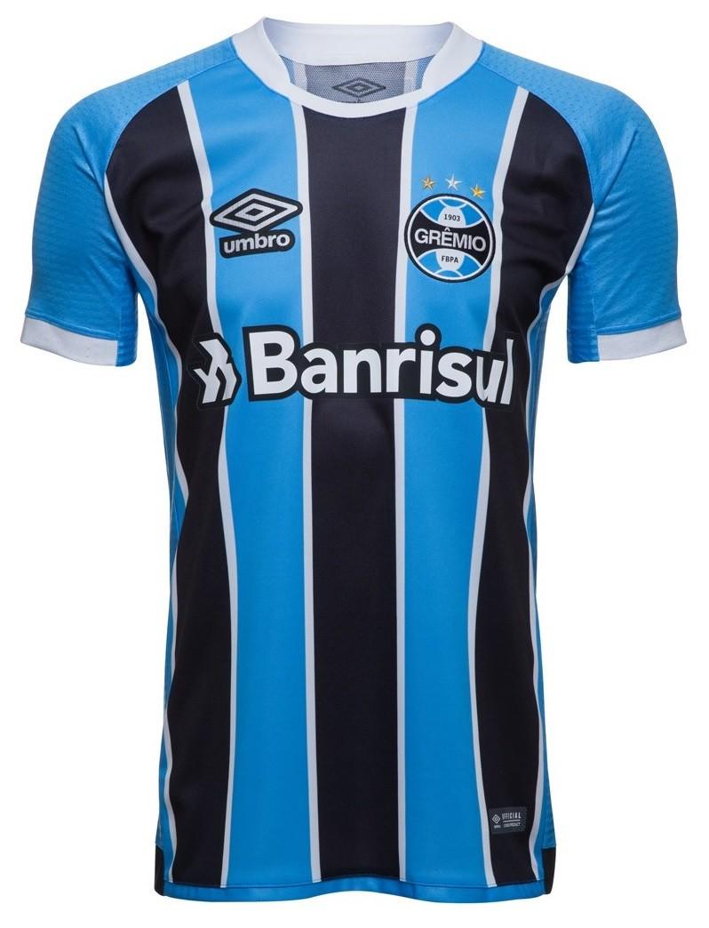 e1a029cb1ca67 Camisa Masculina Umbro Grêmio Oficial 1 2017 (Game) 3G160086 321  Celeste Preto