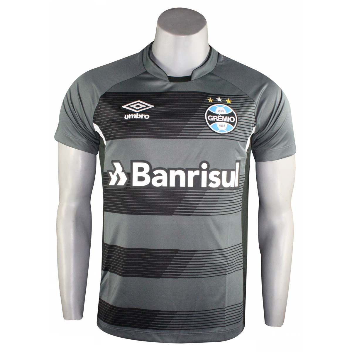 4fbebabc6ca63 Camisa Masculina Umbro Grêmio Treino 2017 3G160085.812 Grafite Preto Branco