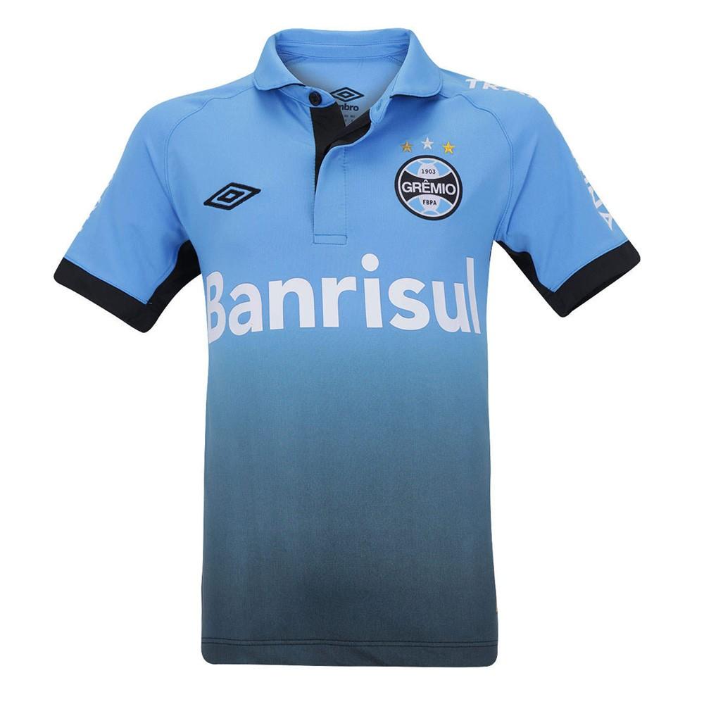 24a87affc4 Camisa Umbro Grêmio Juvenil Oficial 3 2015 3G00030 - Celeste Preto ...