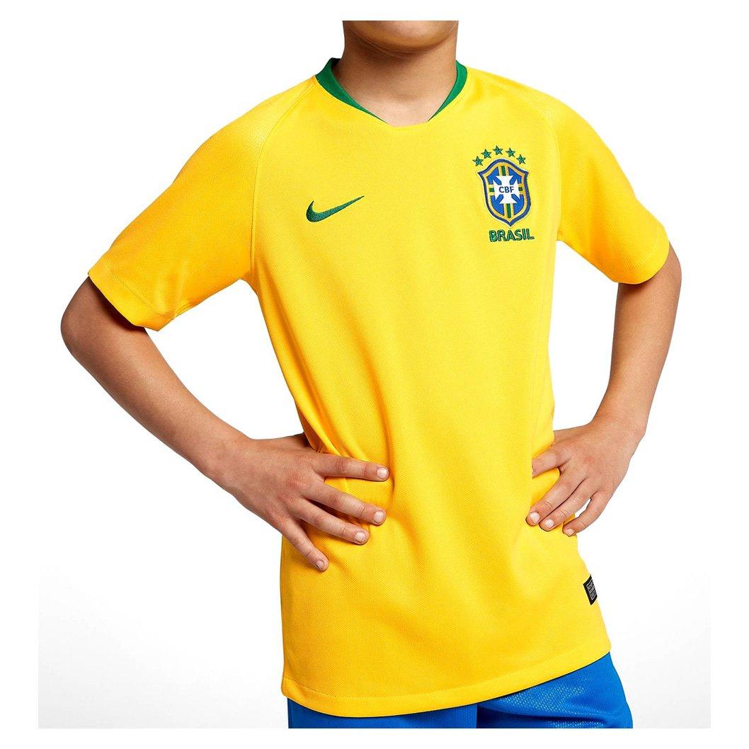 c9d92b5986f2f Camiseta Infantil Nike Brasil I 2018 19 893970-749 - Amarelo ...