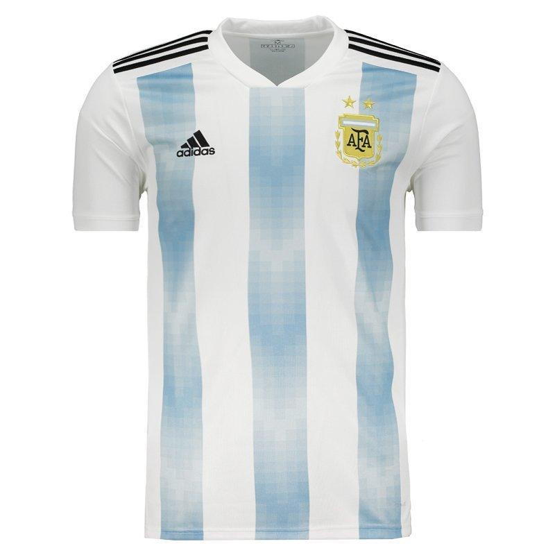 Camiseta Masculina Adidas Argentina 1 2018 BQ9324 - Branco Azul ... dcfa56bcbd9da