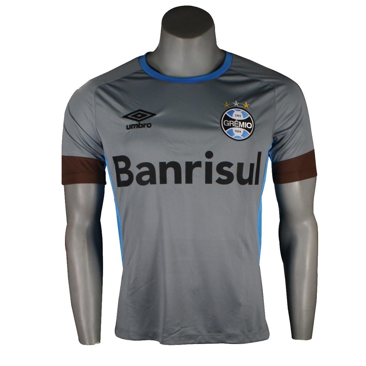 Camiseta Masculina Umbro Grêmio Treino 2016 Sem Número 3G11002 830  Cinza Azul Celeste 604ced60e6bc3