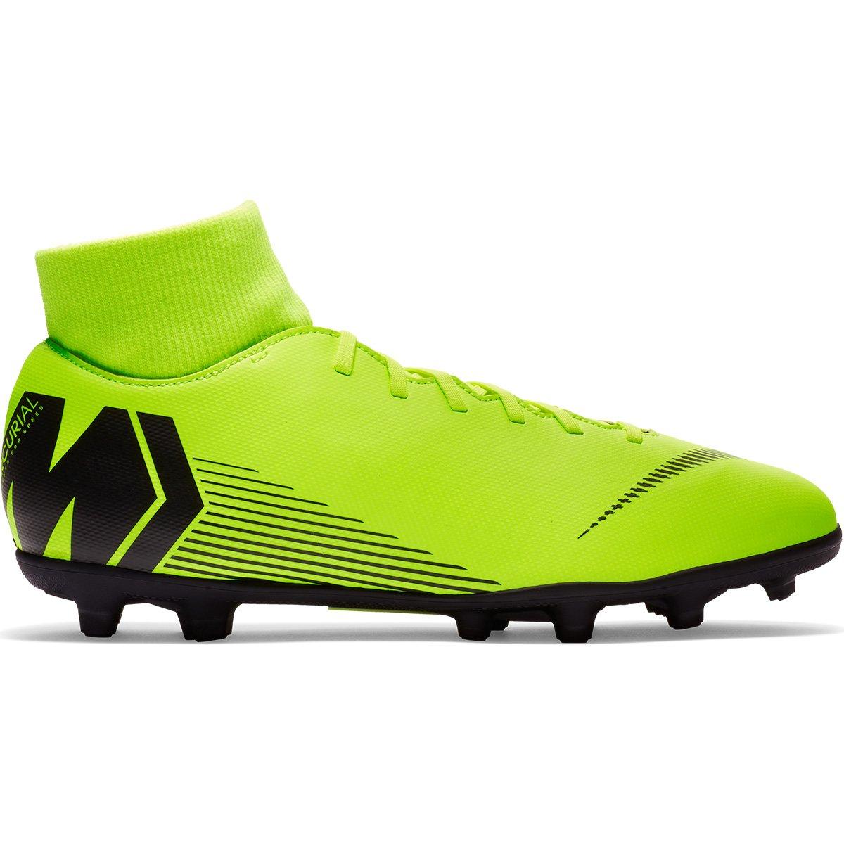 24d3a96594 Chuteira Campo Nike Mercurial Superfly 6 Club AH7363-701 Verde Limão Preto