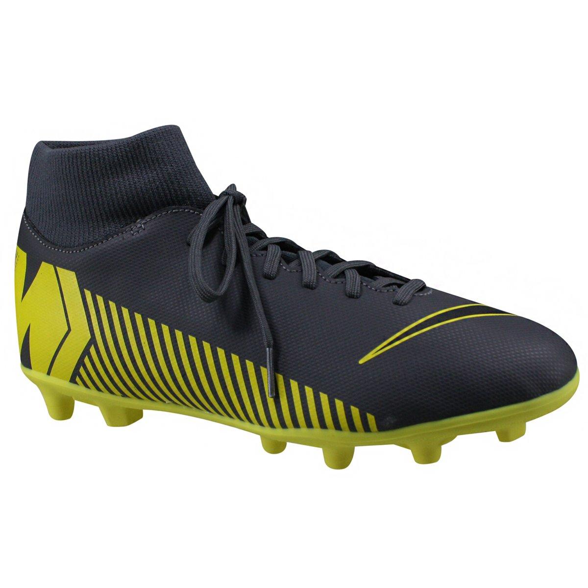 Chuteira Campo Nike Mercurial Superfly 6 Club AH7363-070 Cinza Amarelo ab23927463218