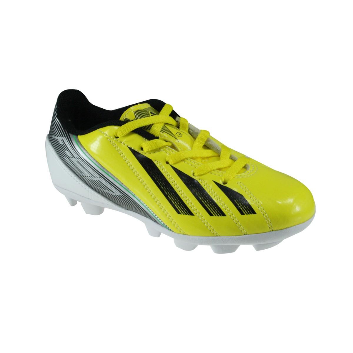 Chuteira Infantil Adidas F5 TRX HG J G57275 Amarelo Branco 65404445f2dd0
