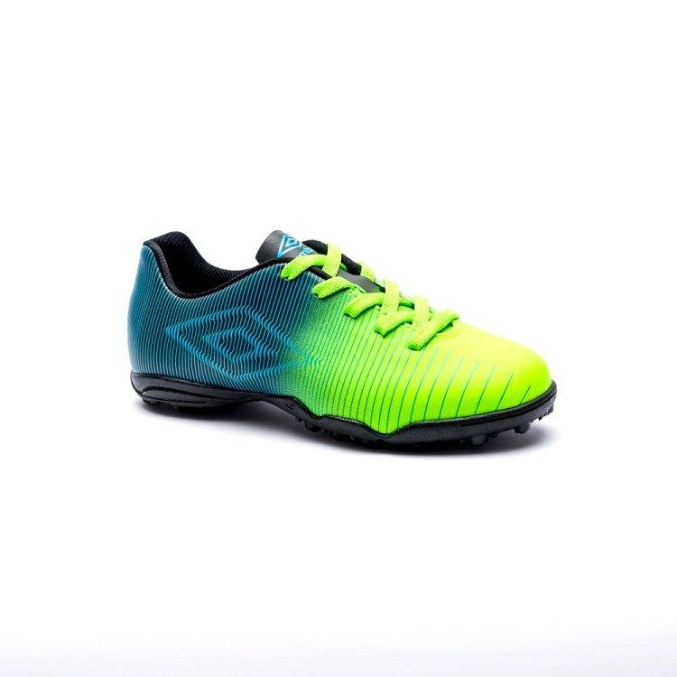 Chuteira Infantil F7 Umbro Vibe JR 0F81039 513 - Verde Preto Azul ... e62a4a906cfeb