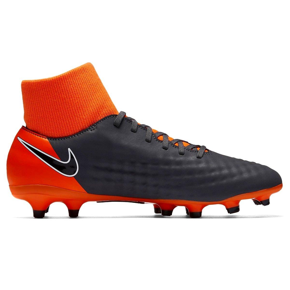 Chuteira Nike Magista Obra II Academy DF FG AH7303-080 Cinza Laranja ff70dddccc079