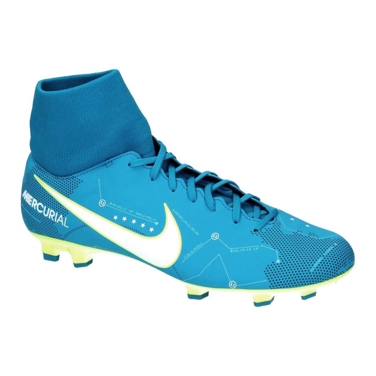 d6605bf928178 Chuteira Nike Mercurial Victory VI DF Neymar Junior FG 921506-400  Azul Verde Limão