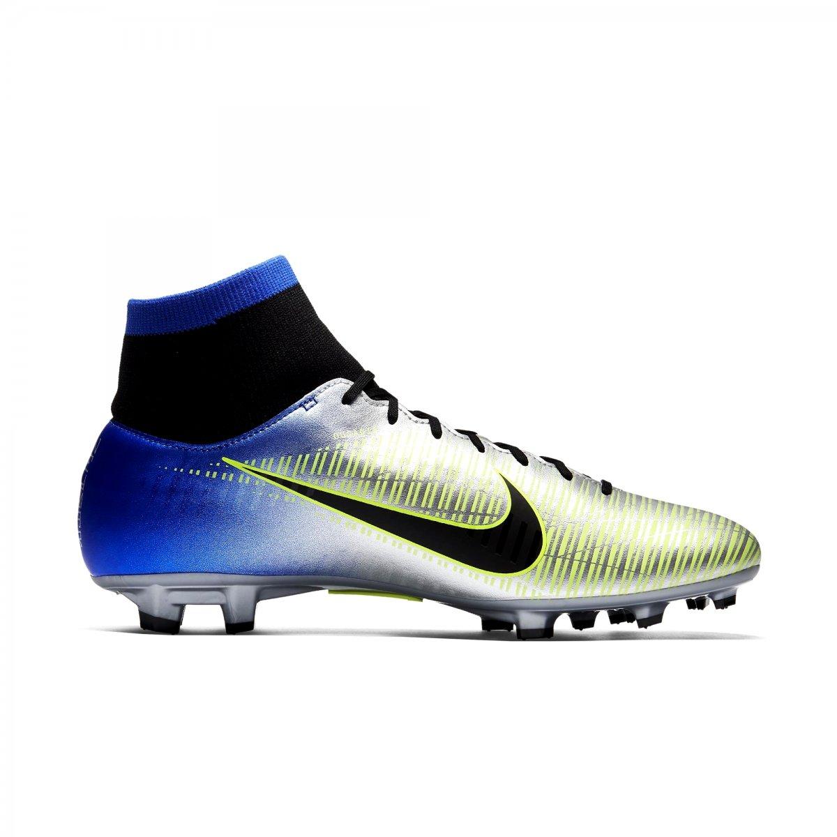 Chuteira Nike Mercurial Victory VI DF Neymar Junior FG 921506-407 Prata Azul 5918ce08b89e0