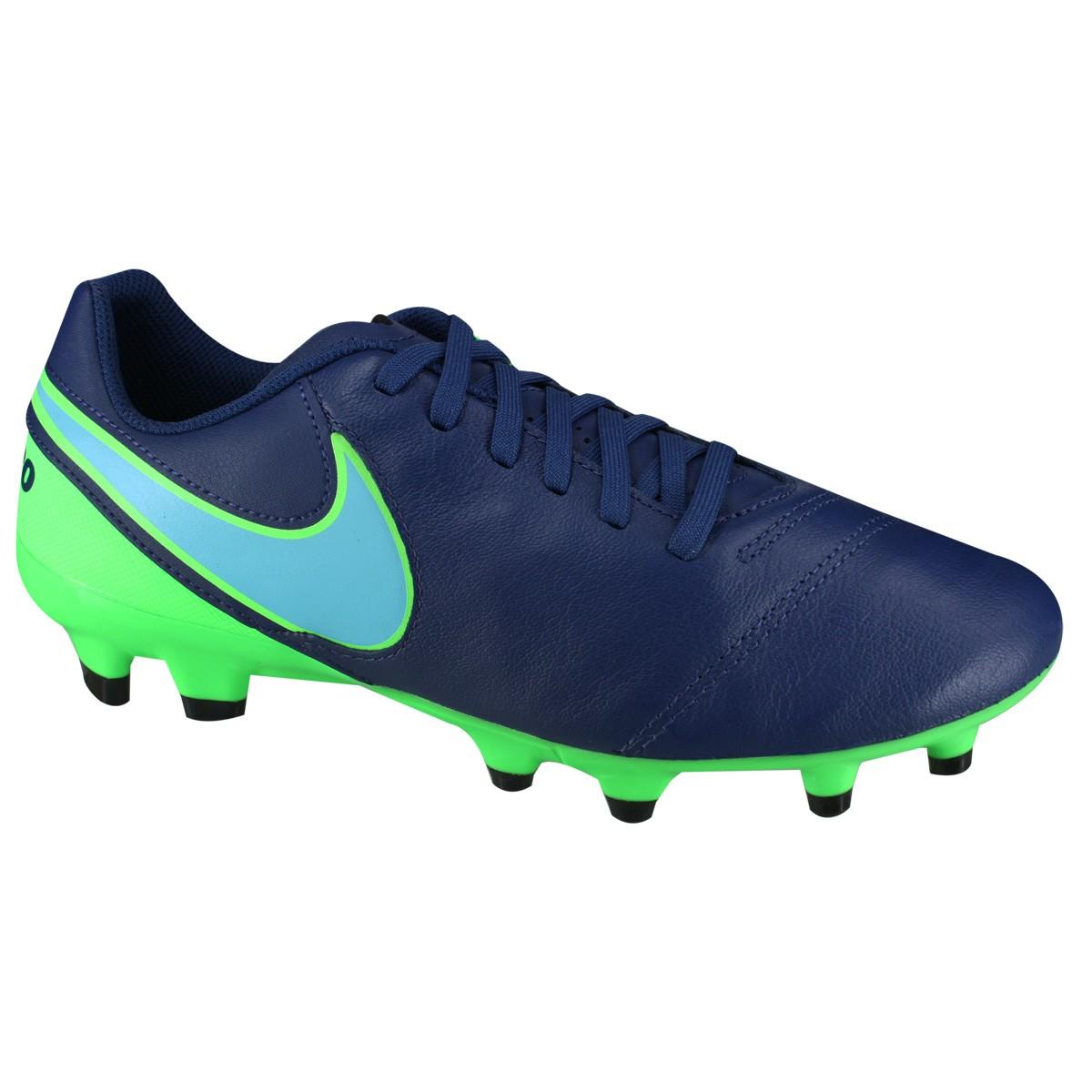 Chuteira Nike Tiempo Genio II Leather FG 819213-443 - Marinho Verde ... 79b21739f516a