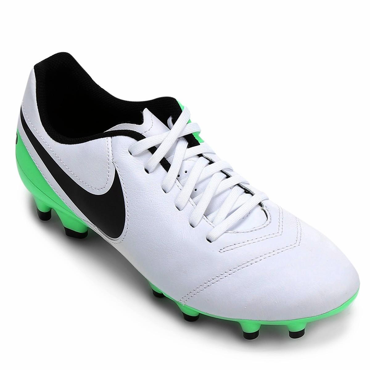 Chuteira Nike Tiempo Genio II Leather FG 819213-103 Branco Verde 1a893c9bf6840