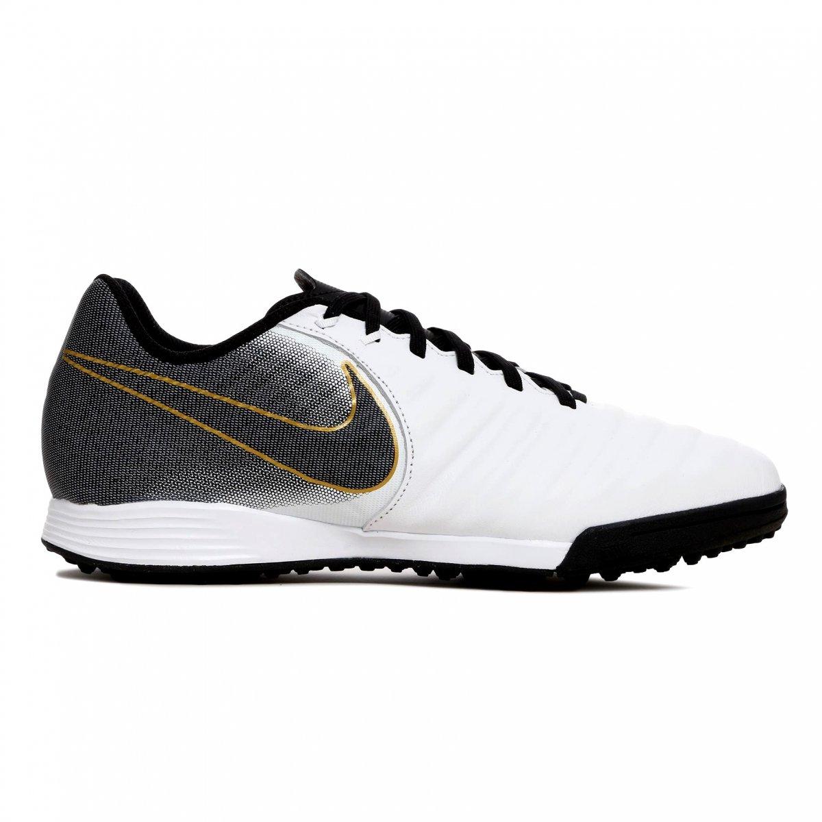 Chuteira Society Nike TiempoX Legend 7 Academy AH7243-100  Branco Preto Dourado 5947f91515971