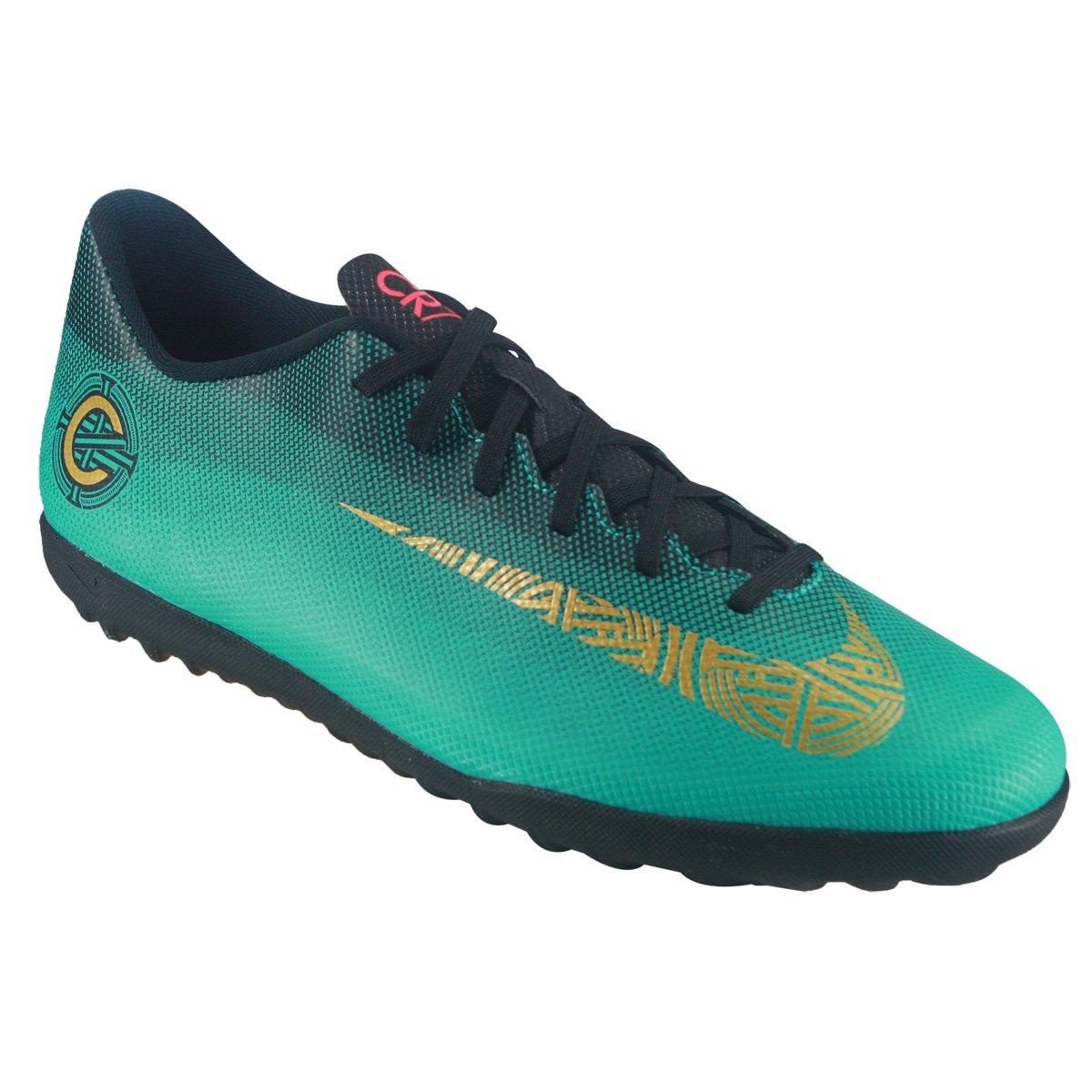 Chuteira Society Nike Vapor 12 Club CR7 AJ3738-390 - Verde Preto ... ddda65122aaaf