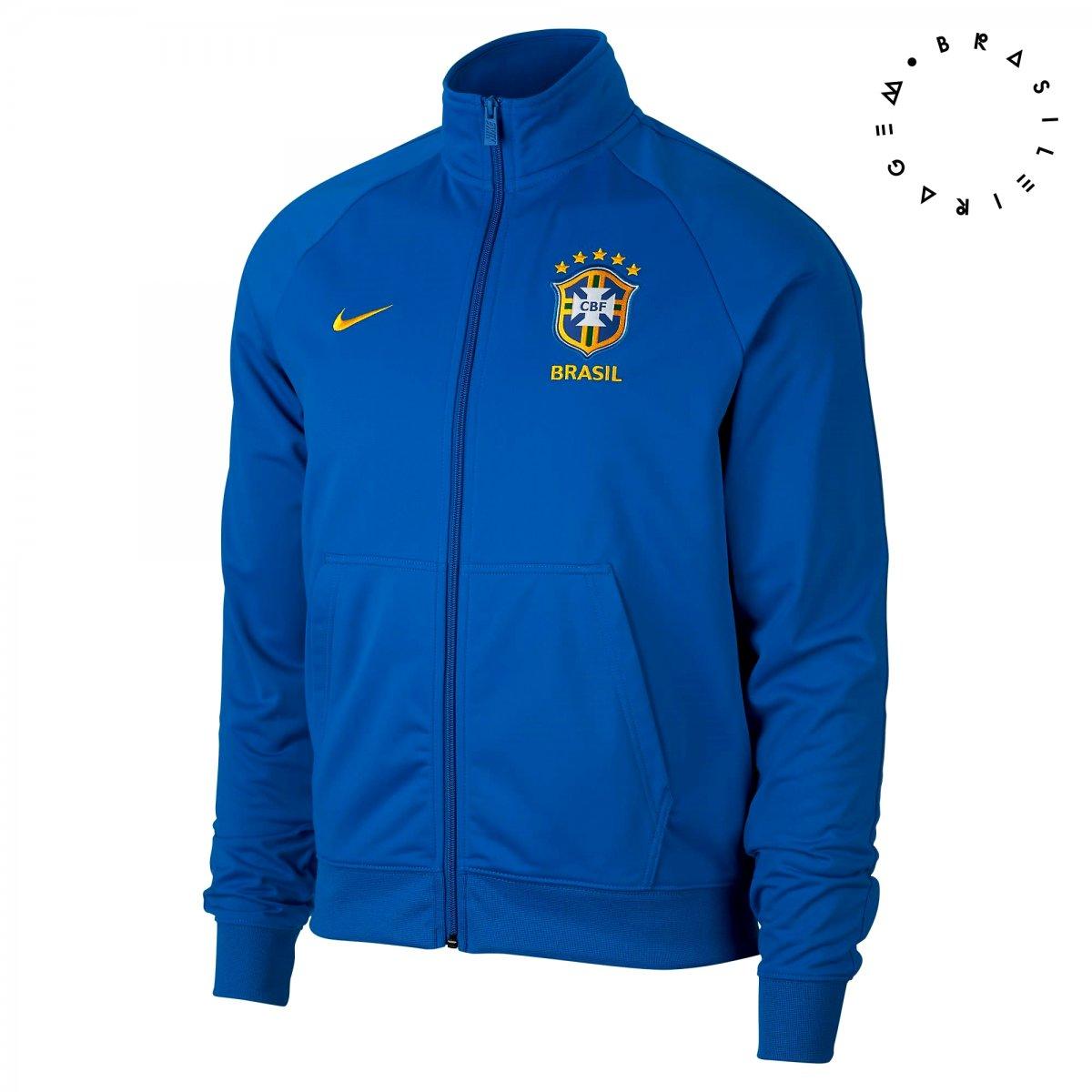 Jaqueta Masculina Nike Brasil CBF 891587-455 - Azul - Calçados ... 54c74be08bbc5