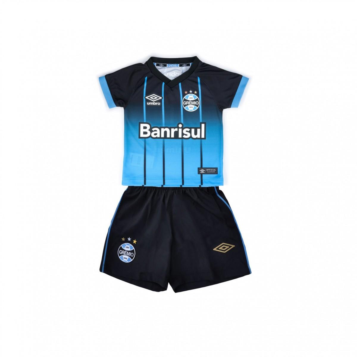 e89d29482b Kit Infantil Umbro Grêmio Oficial 2016 3G04008 - Preto Azul Branco ...