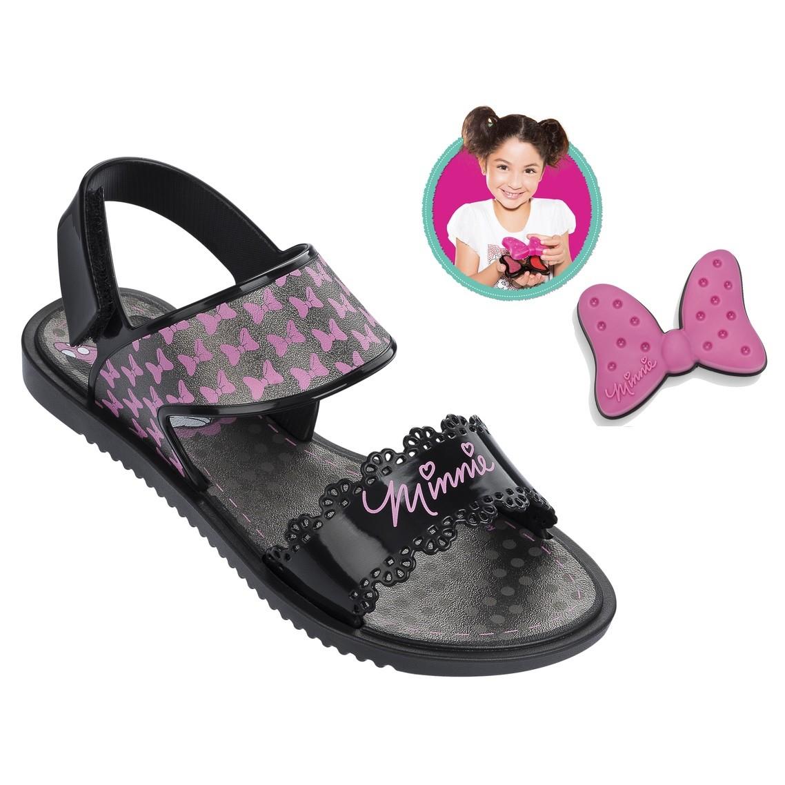 5b422355f5d79 Sandália Grendene Infantil Disney Minnie Fashion (Com Brinde) 21366-22775  Preto Prata