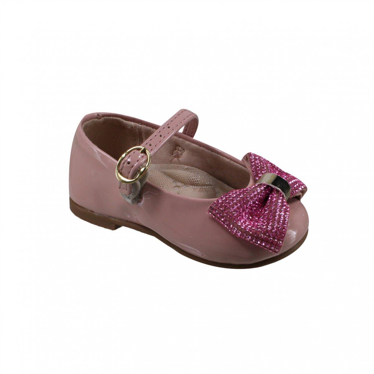 386973585 Sapatilha Infantil Molekinha Bebê 2106.171 13488 53252 Rosa (Verniz Premium)