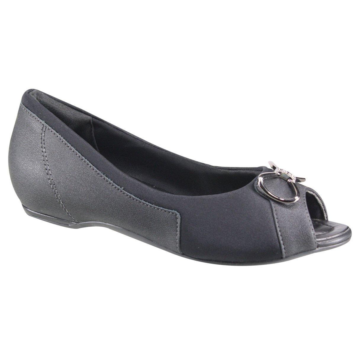 6d599d028 Sapato Feminino Comfortflex Peep Toe 18-76304 000008 Preto (Napa Vestuário  Plus)