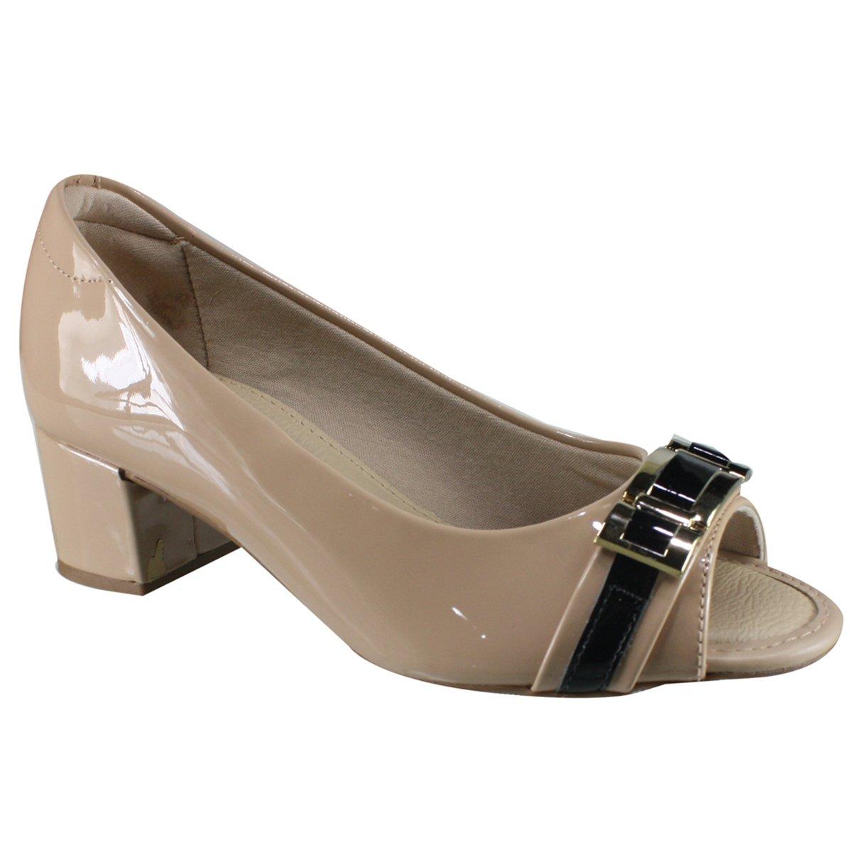 4b9215708 Sapato Feminino Modare Peep Toe 7316.111 13488 32652 - Bege/Preto ...