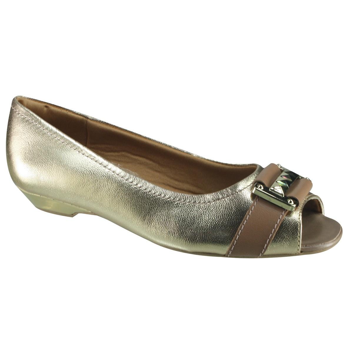 a0a227925 Sapato Feminino Usaflex Peep Toe V1813 04 - Dourado Camel (Mestiço ...