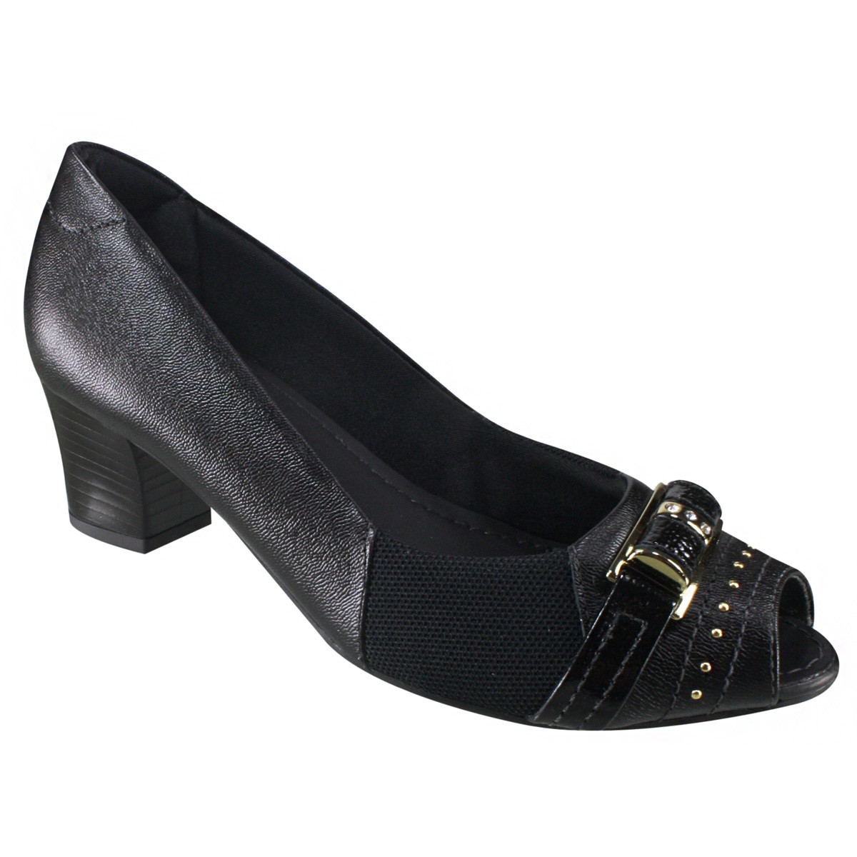 73fb50b7c Sapato Feminino Usaflex Peep Toe Q6612 01 - Preto (Caprina ...