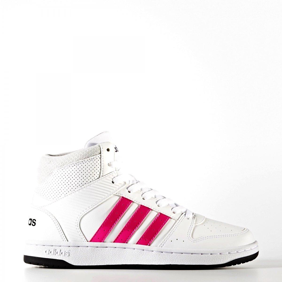 Tênis Adidas VS Hoopster MID W B74234 Branco Rosa 54be27a69cf