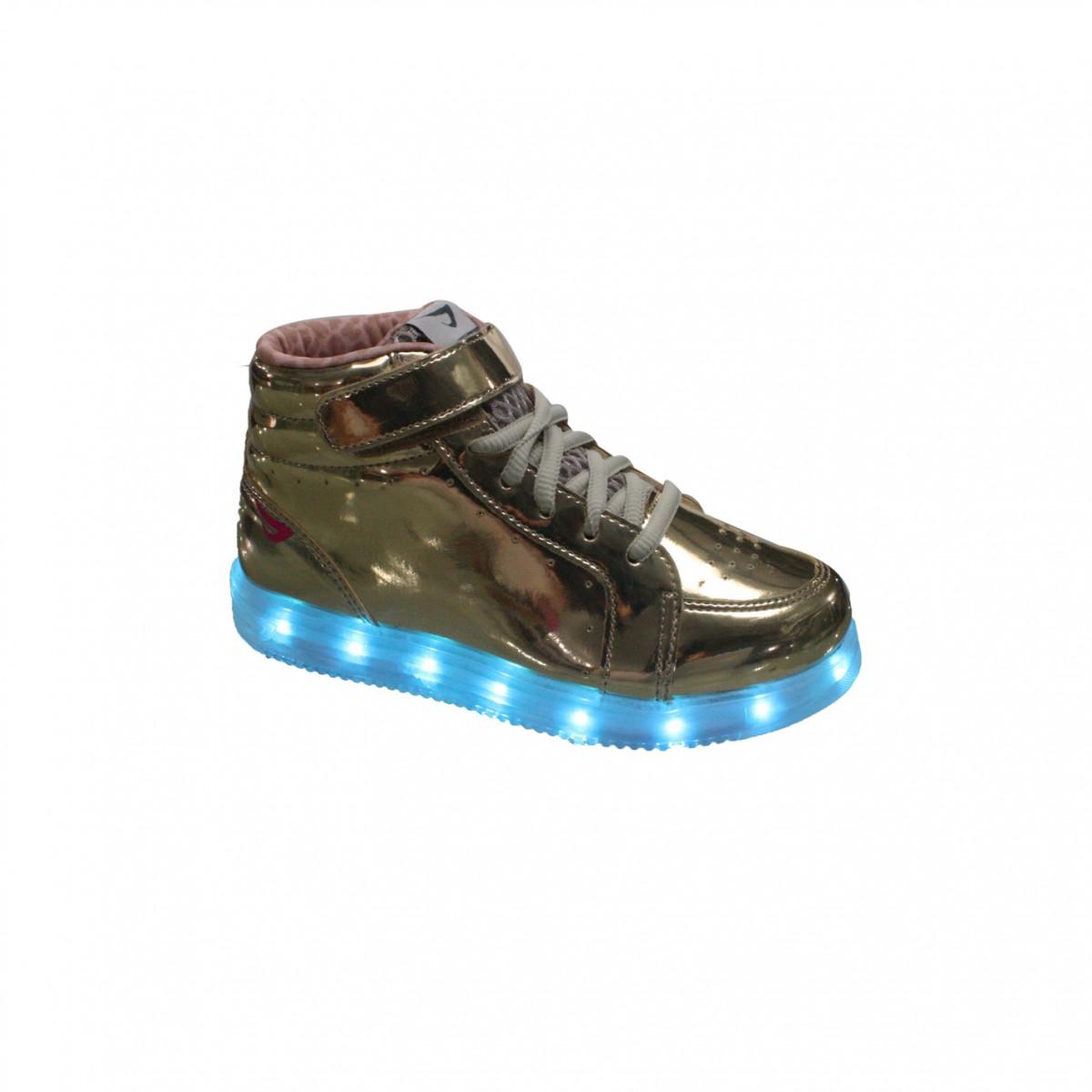 354208f4bb6 Tênis Botinha Infantil Ortopé Color Com Luz de LED 22110002 Ouro (Spechio)