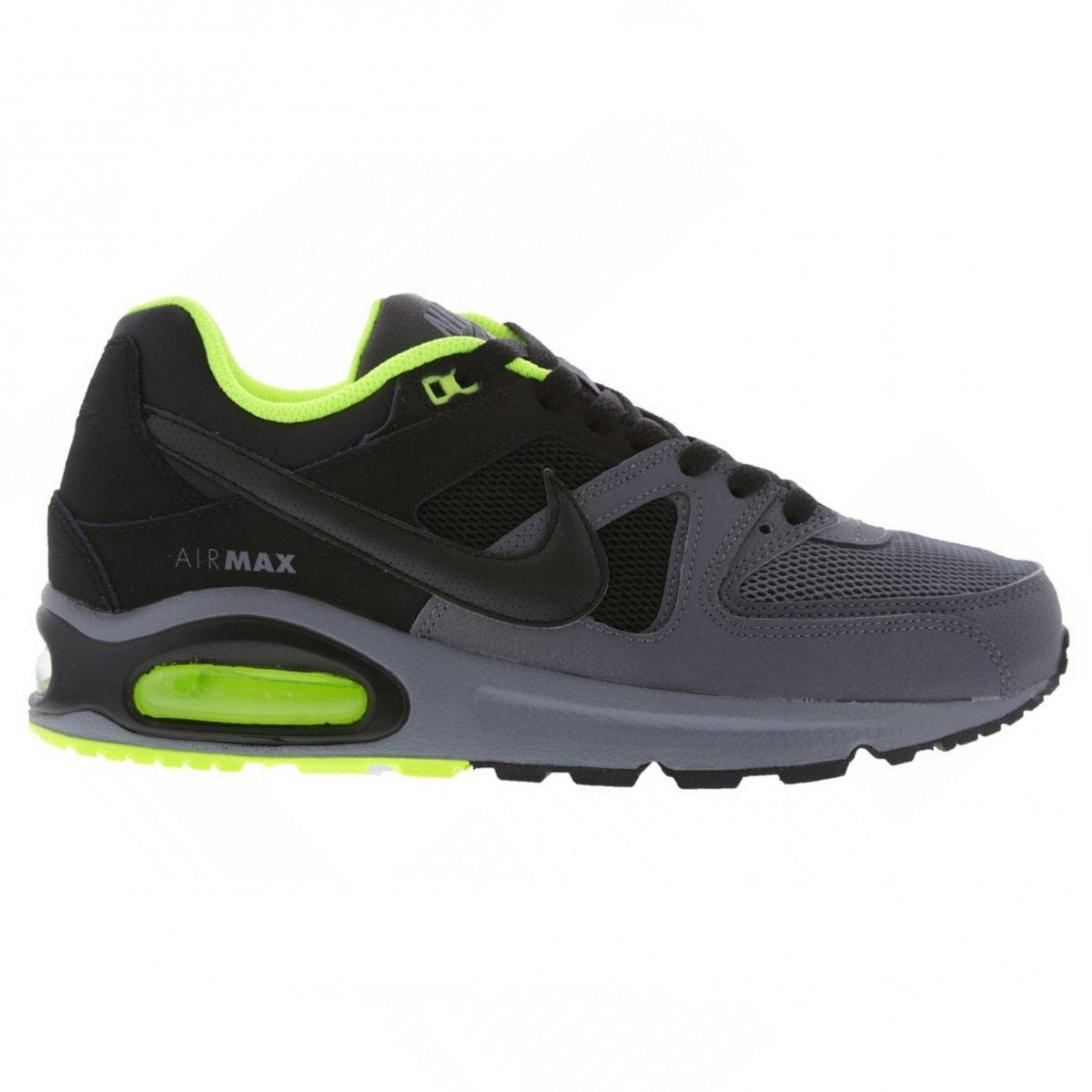 80db1a91bc Tênis Masculino Nike Air Max Command 629993-038 Preto Grafite Verde Limão
