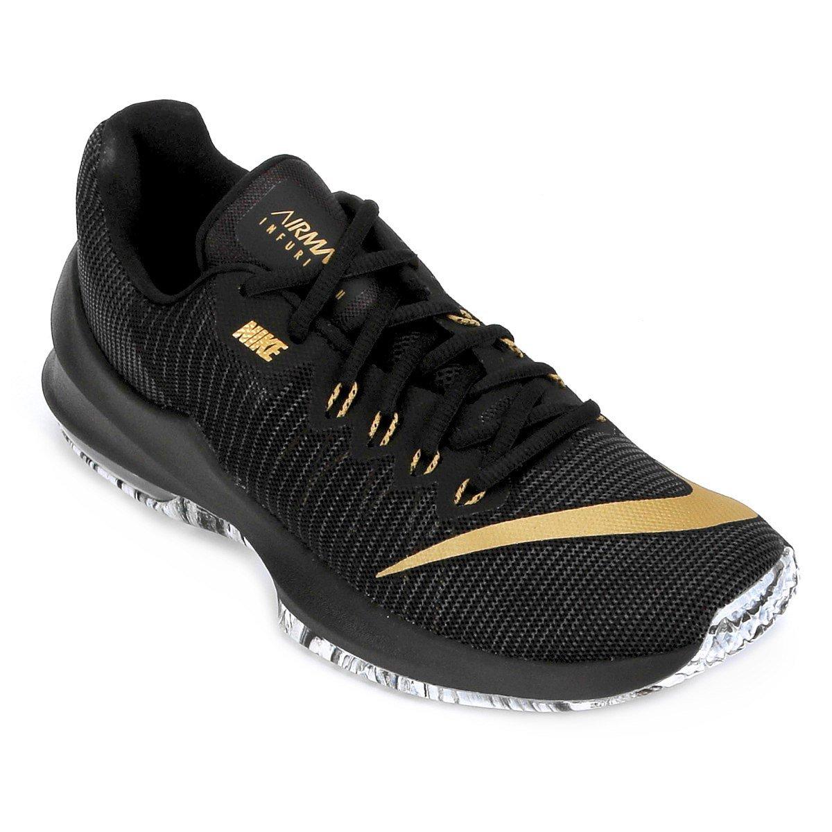 9bdc351e5ae20 Tênis Masculino Nike Air Max Infuriate 2 Low 908975-090 Preto Dourado