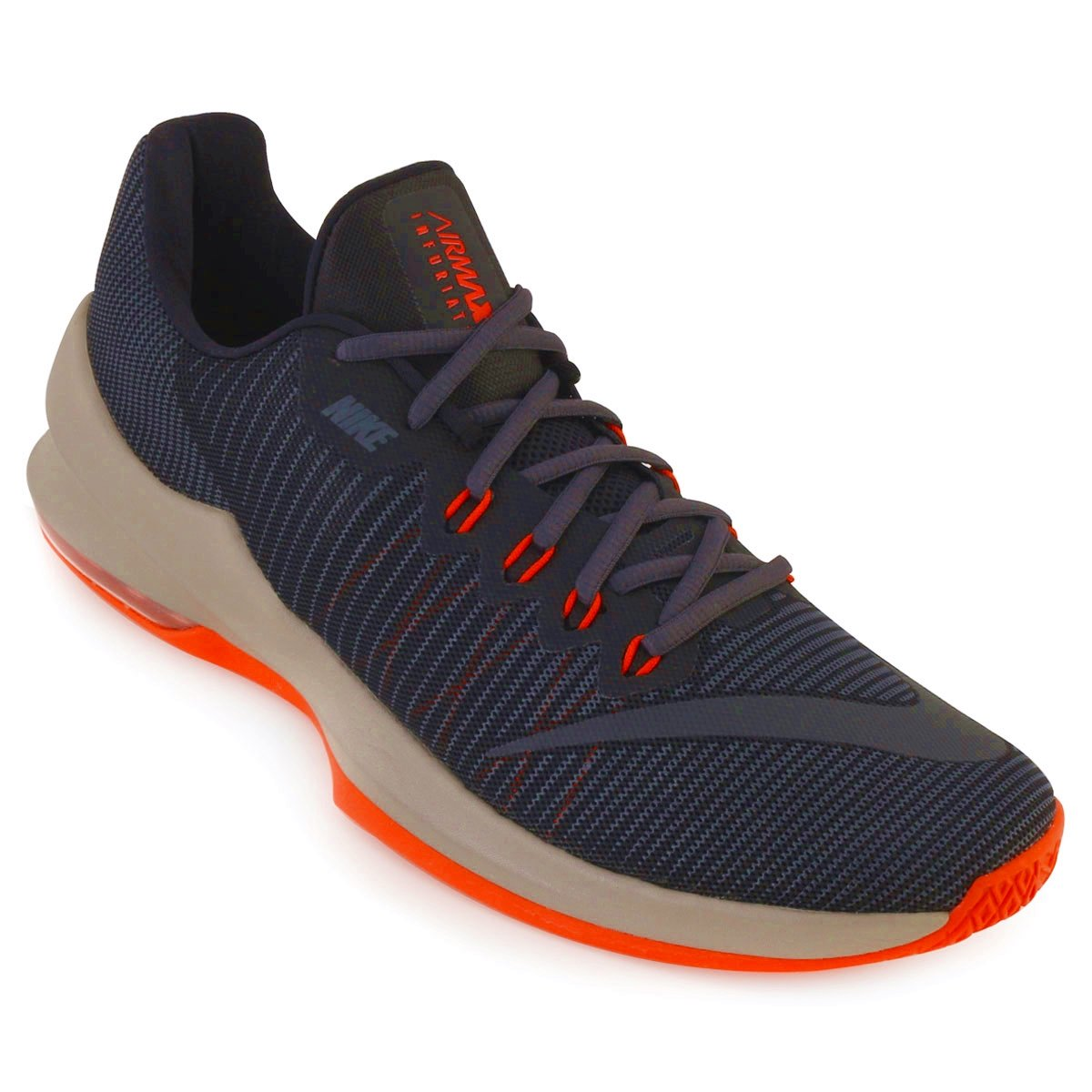 434f0ea713bcd Tênis Masculino Nike Air Max Infuriate 2 Low 908975-020 Marinho Laranja